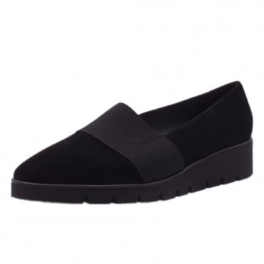 Nona Comfortable Wide Fit Shoes in Black Suede
