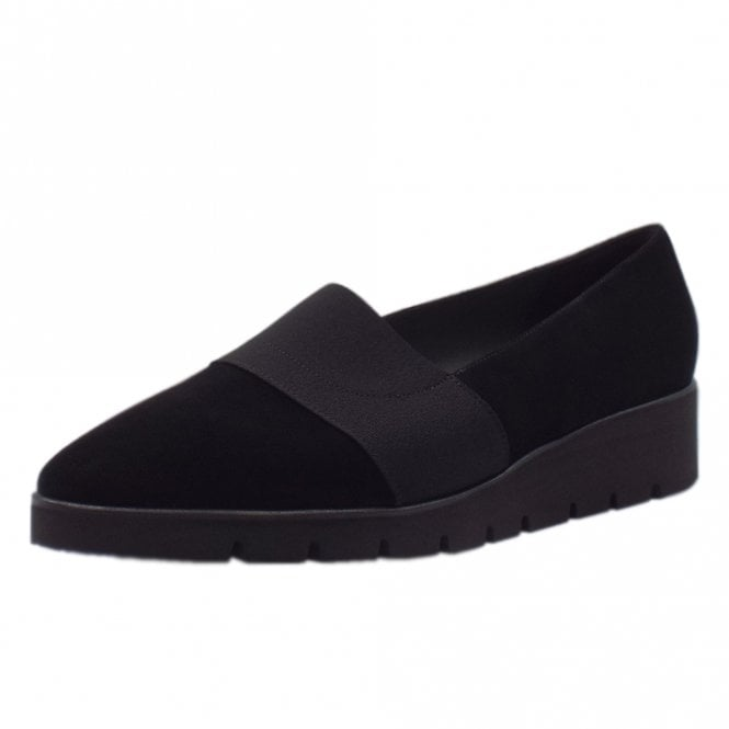 Nona Comfortable Wide Fitting Shoe in Black Suede
