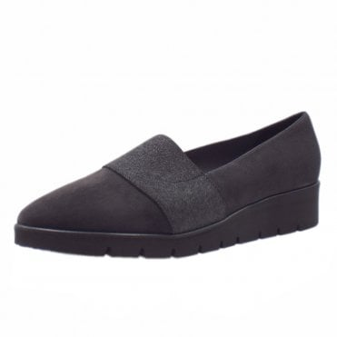 Nona Comfortable Wide Fitting Shoe in Carbon Suede