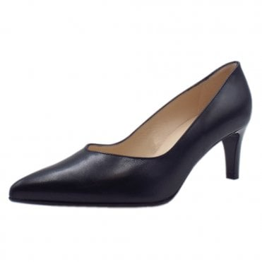 Nura Classic Court Shoes in Navy Leather