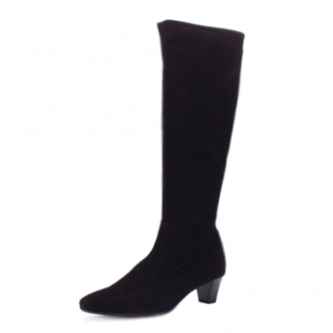 Ofela Black Suede Trendy Stretch Pull On Boots