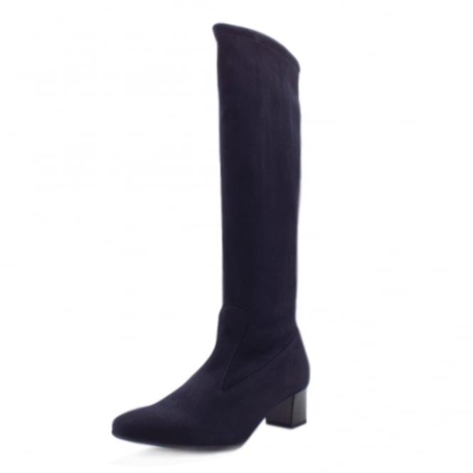 Ofela Navy Suede Trendy Stretch Pull On Boots