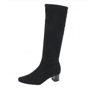 Ofela Women's Pull On Black Suede Stretch Boots