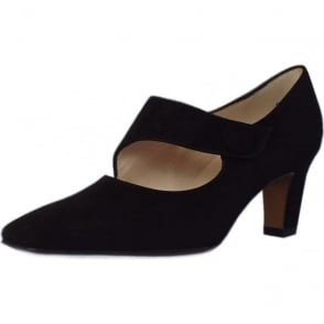 Olga Black Suede Mary-Jane Pumps