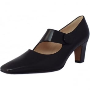 Olga Mary-Jane Style Court Shoes in Black Leather