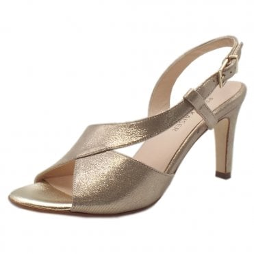 Oprah Dressy Shimmering Suede Slingback in Taupe Luz