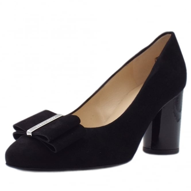 Osilia Black Suede & Rounded Patent Block Heel Pumps
