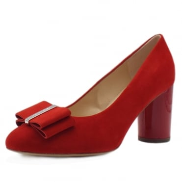 Osilia Red Suede & Rounded Patent Block Heel Pumps