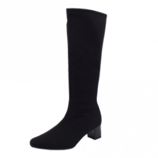 Oswana Pull On Knee High Boots in Black Stretch