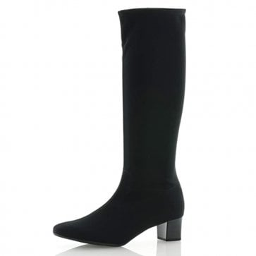 Oswana Pull On Stretch Knee High Boots in Black