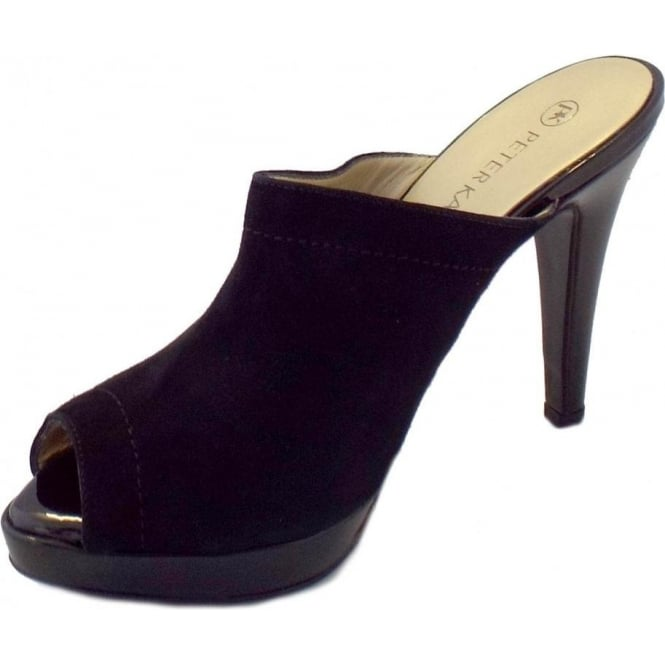 Palia Black Suede And Patent Peep Toe Mules