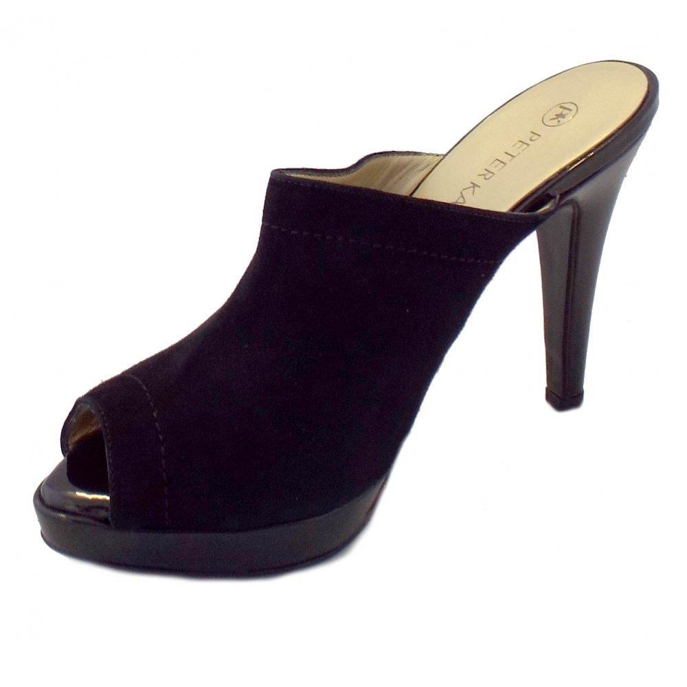 peter kaiser palia ladies black suede slip on high heel shoes. Black Bedroom Furniture Sets. Home Design Ideas