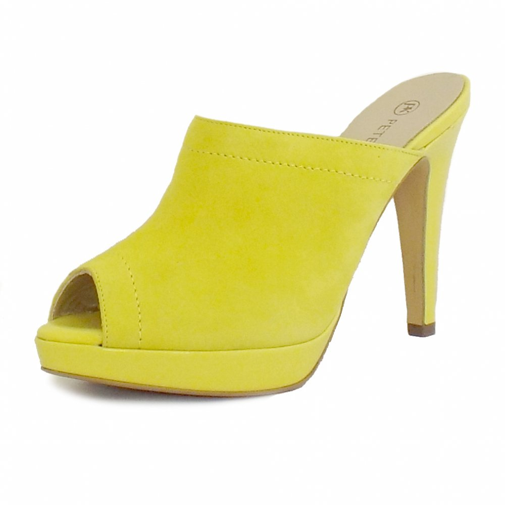 Peter Kaiser Palia | Ladies Yellow Suede Slip On High Heel Mules Shoes