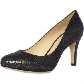 Pascale Court Shoe in Black Snake Print Leather