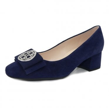Patty Mid Heel Wide Fit Court Shoes in Notte Suede