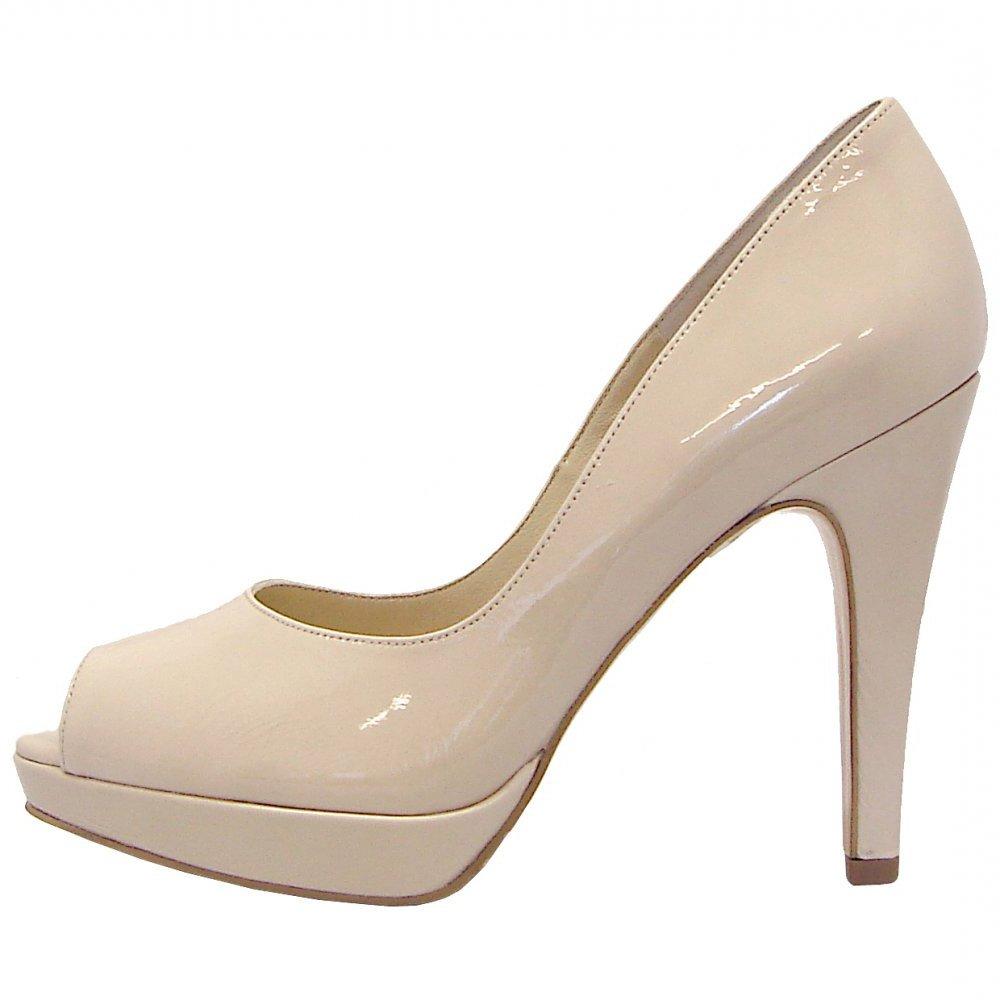 Patu high heel peep toe shoes in lana cream patent | Peep