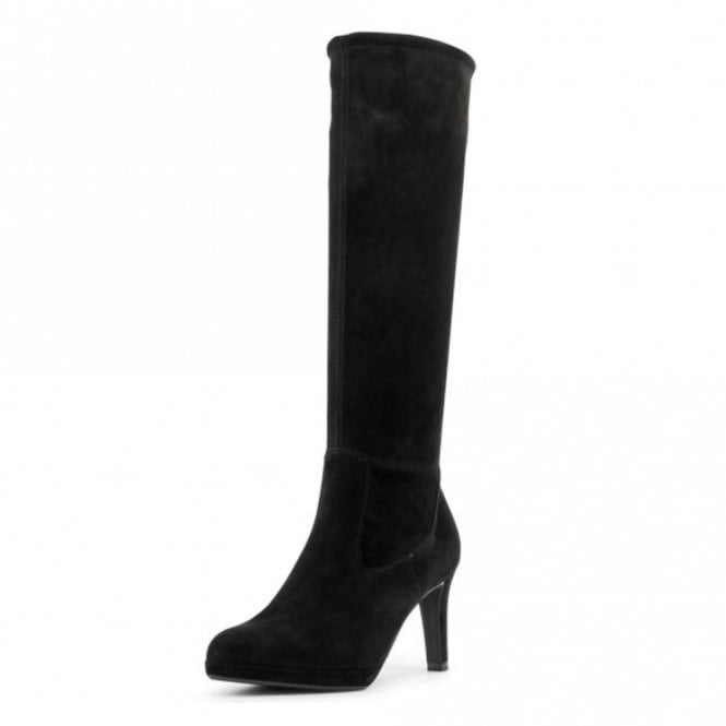 Peter Kaiser Pauline Pull On Stretch Knee High Boots in Black Suede
