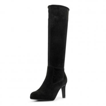 Pauline Pull On Stretch Knee High Boots in Black Suede