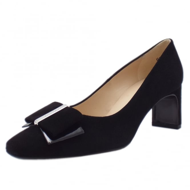 Pavilia Black Suede Bow Trim Mid Heel Pumps
