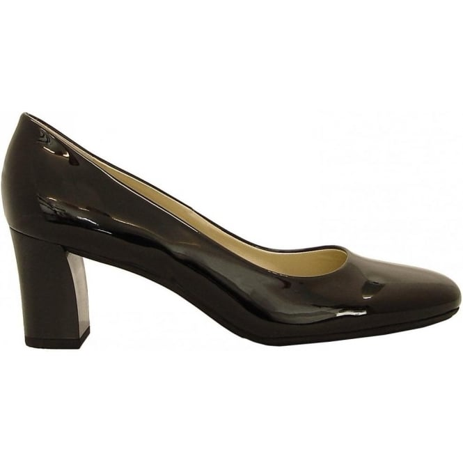 Plata black patent mid heel court shoes