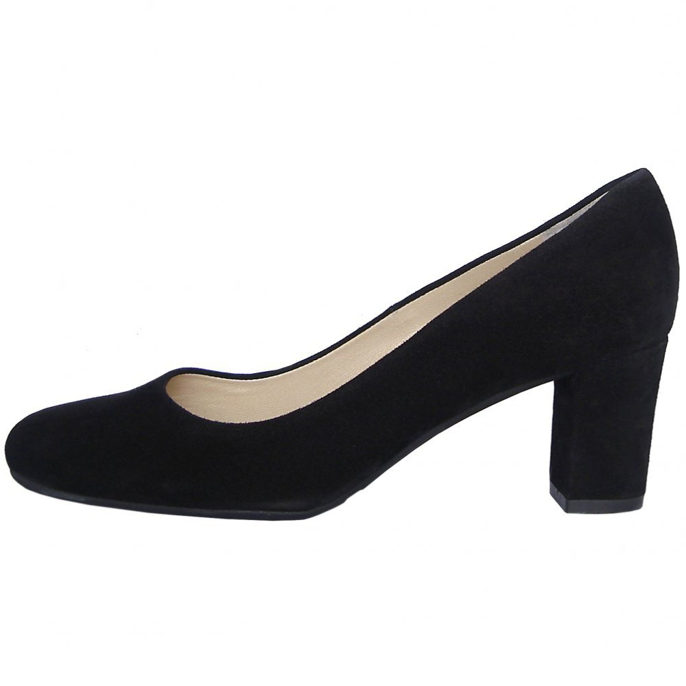 bf2c51f27b425 Peter Kaiser Plata | Black suede stacked heel court shoes, round toe