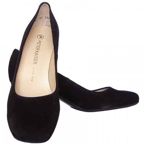 57685d614f Peter Kaiser Plata | Black suede stacked heel court shoes, round toe
