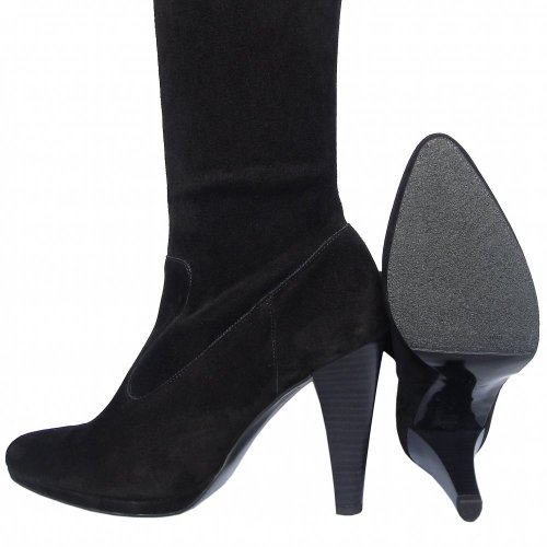 Peter Kaiser Pola | Black suede stretch over the knee high heel boots