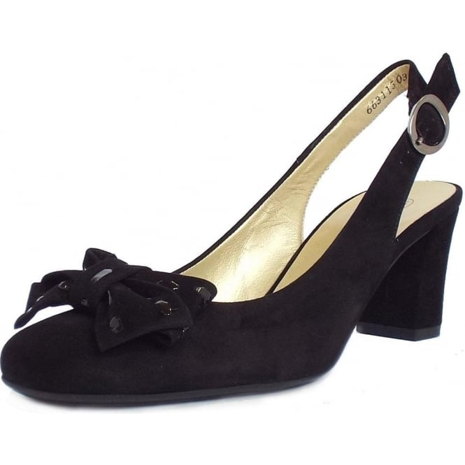 Ladies Black Suede Slingback Court Shoes