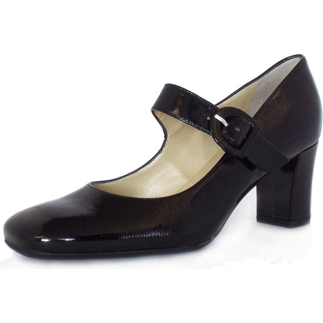 Punto Black Crackle Patent Mary-Jane Shoes