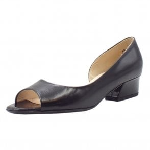 Pura Low Heel Open Toe Shoes in Black Chevro