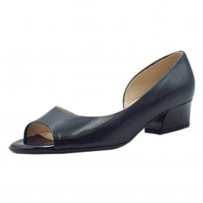 Pura Low Heel Open Toe Shoes in Notte Chevro