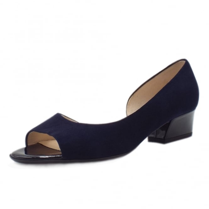 Pura Notte Suede Low Heel Open Toe Pumps