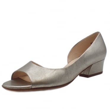 Pura Taupe Furla Leather Low Heel Open Toe Pumps