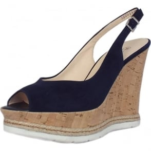 Regine Summer High Wedge Platform Sandals in Notte Suede