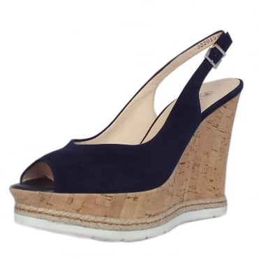 Regine Wedge Sandals in Notte Suede