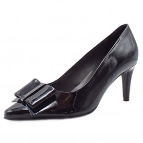 Rexa Dressy Pointed Toe Court Shoes in Black Lack