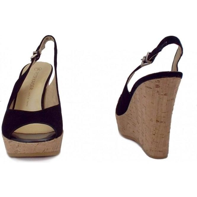 Ladies Black Suede Slingback Wedge Sandals