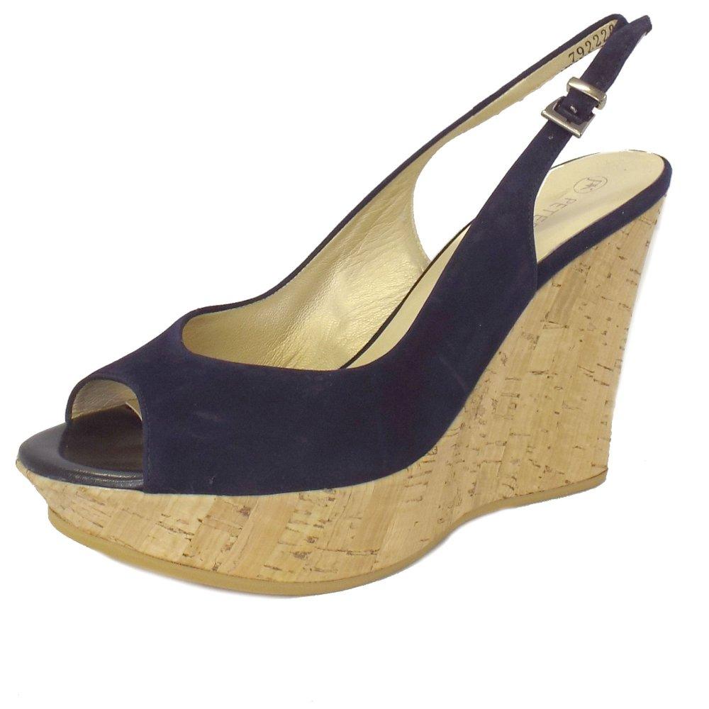 Ladies Navy Suede Slingback Wedge Sandals