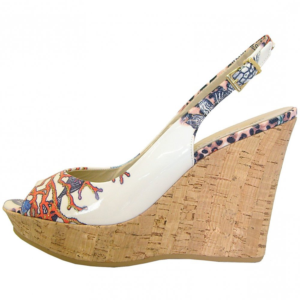 Coral RigaWhite Kaiser Wedge Print Sandals Unique With Peter Patent 35RLj4A