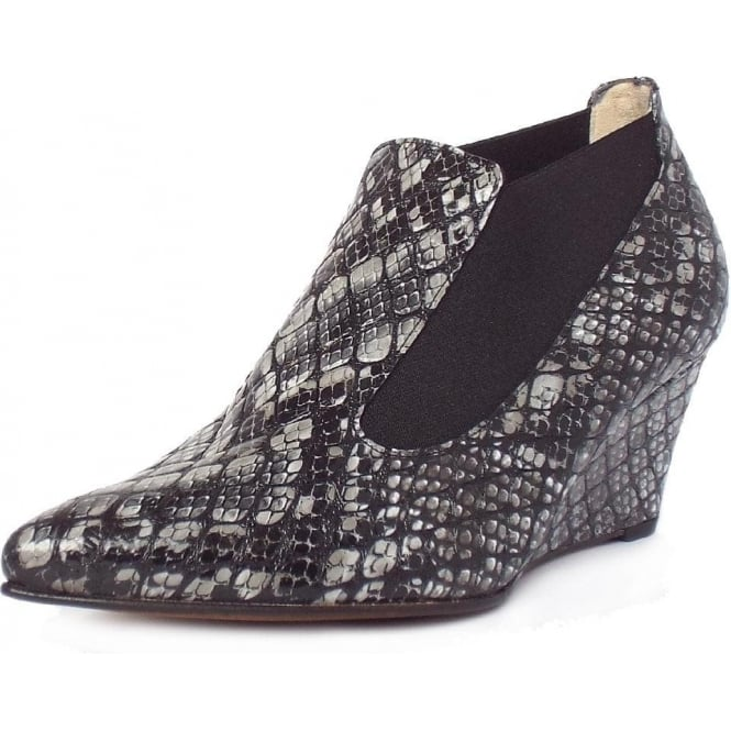 Rilana Black Serpe Snake Skin Effect Mid Wedge Shoe-Boots