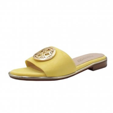 Riva Low Heel Open Toe Shoes in Lemon Suede