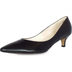 Rona Black Leather Pointed Toe Kitten Heel Pumps