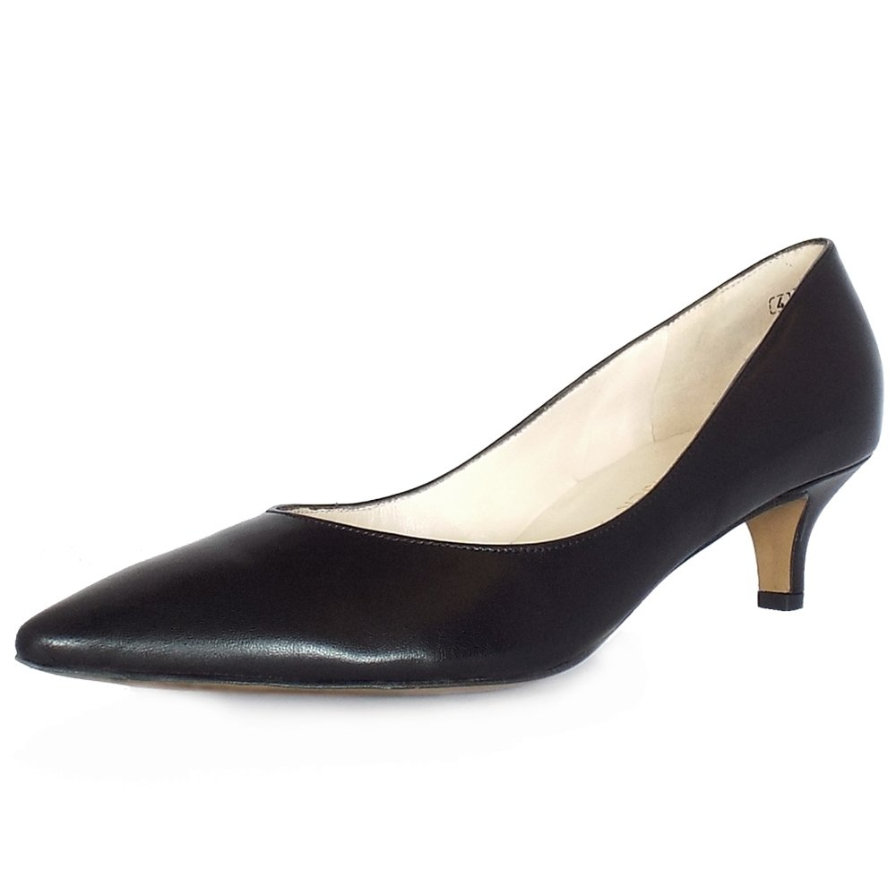 Peter Kaiser UK | Rona | Black Leather Pointed Toe Kitten Heel Pumps