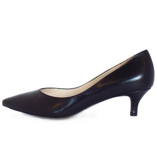 e43defdfb5a ... Rona Black Leather Pointed Toe Kitten Heel Pumps ...