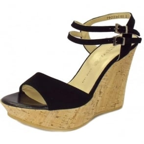 Ronko Wedge Sandals in Black Suede