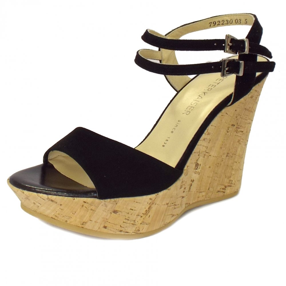 Ronko Black In Sandals Suede Wedge POkw8n0ZNX