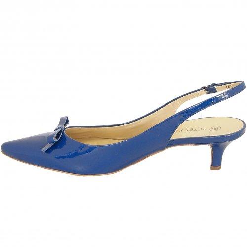 Rosette kitten heel slingback shoes in royal patent