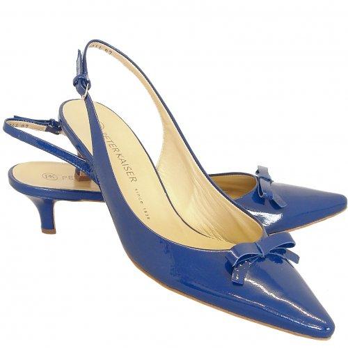 ... Rosette kitten heel slingback shoes in royal patent. ‹