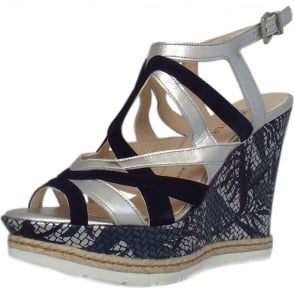 Rosie Mosaic Flower Print High Wedge Heel Sandals in Notte Suede