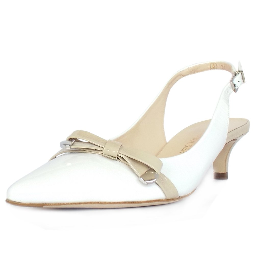 Peter Kaiser UK | Roxy | White Patent Beige Bow Trim Kitten Heel PUmps